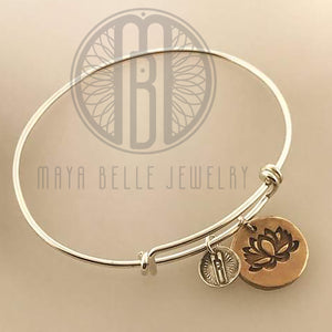 Lotus bangle bracelet in silver and gold