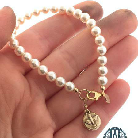 Holy Spirit Swarovski Pearl Bracelet in Pure Bronze - Maya Belle Jewelry