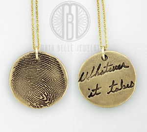 Fingerprint and handwriting necklace - Maya Belle Jewelry