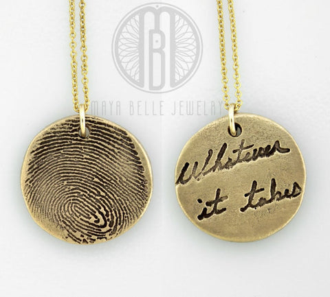 Fingerprint and handwriting necklace in bronze and gold • Memorial keepsake gift - Maya Belle Jewelry