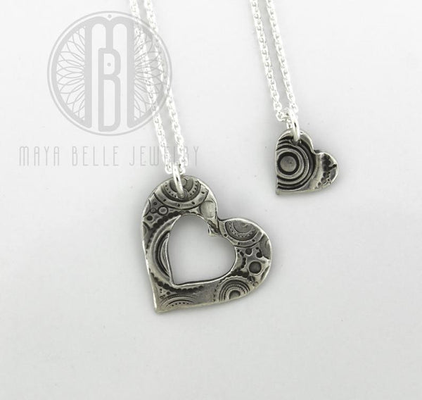 Piece of My Heart cut out Pendant Necklaces, unique handmade puzzle necklaces - Maya Belle Jewelry