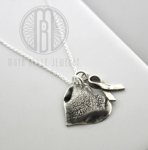 Pet nose or paw print heart charm - Maya Belle Jewelry