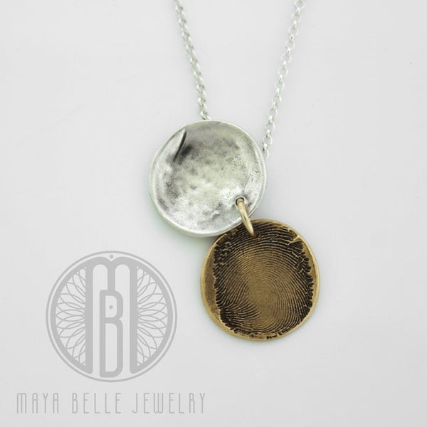 Sacred Geometry, flower of life fingerprint locket • thumb print locket in gold and silver • memorial locket - Maya Belle Jewelry