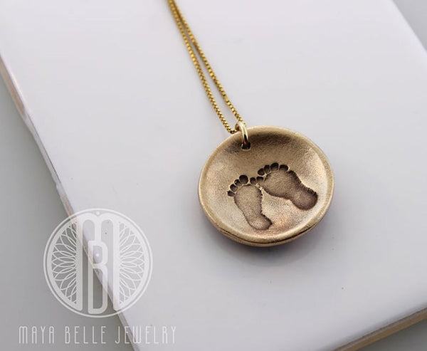 Sacred Geometry Necklace with Baby Foot Print on the Back - Maya Belle Jewelry