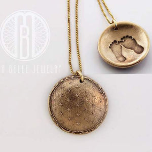 Sacred Geometry Necklace with Baby Foot Print on the Back