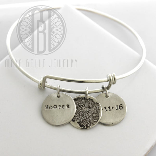 Dog Paw Print or nose Bangle Bracelet with personal Engraving - Maya Belle Jewelry
