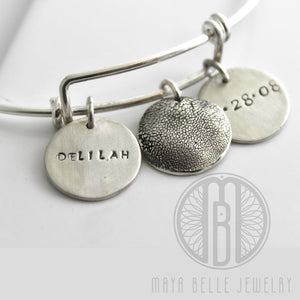 Dog Paw Print Bangle Bracelet with Custom Engraving - Maya Belle Jewelry