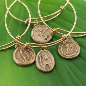 Saints medal bangle bangle bracelets • St.medallions • gold bangle bracelets