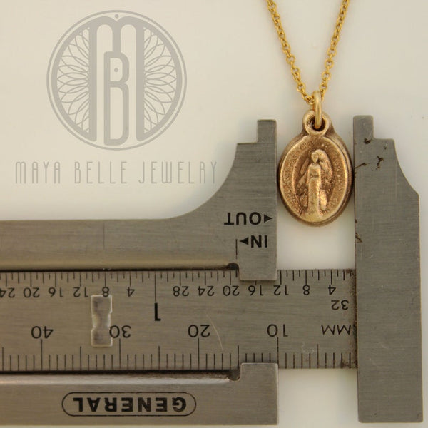 Miraculous Medal • teeny tiny minimalistic Miraculous Mary medallion - Maya Belle Jewelry
