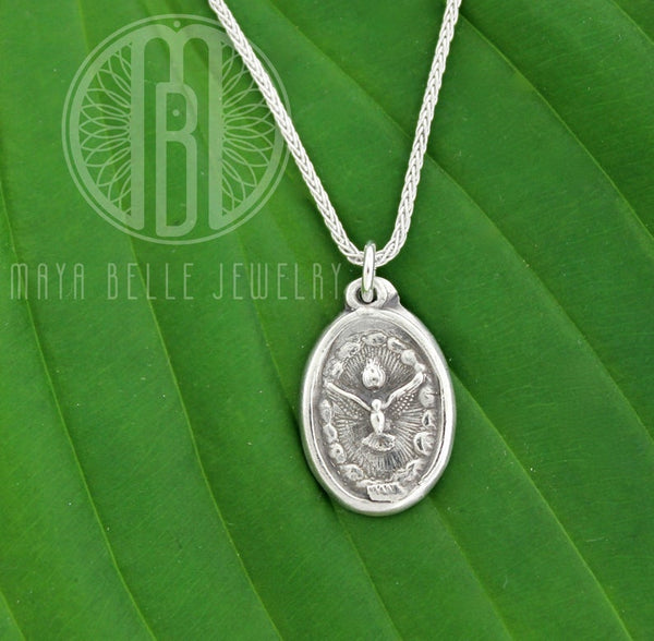Holy Spirit pure solid silver medallion - Maya Belle Jewelry