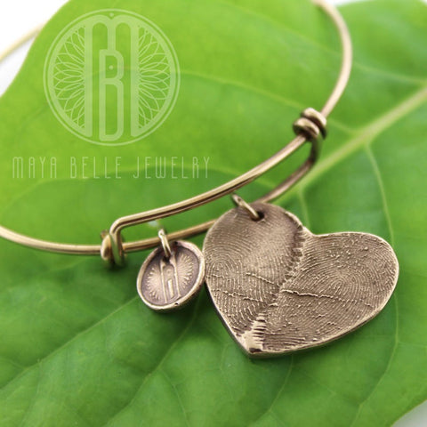 Two fingerprints bangle bracelet - Maya Belle Jewelry