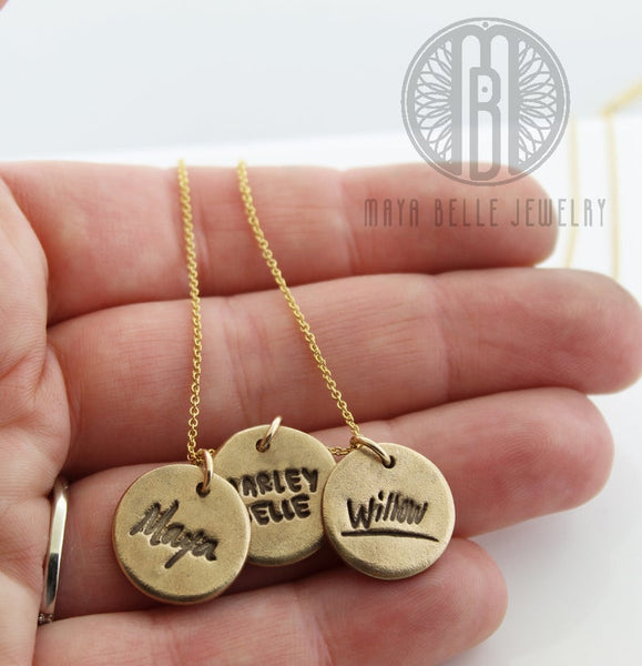 Mothers necklace with kids ACTUAL handwritten names - Maya Belle Jewelry