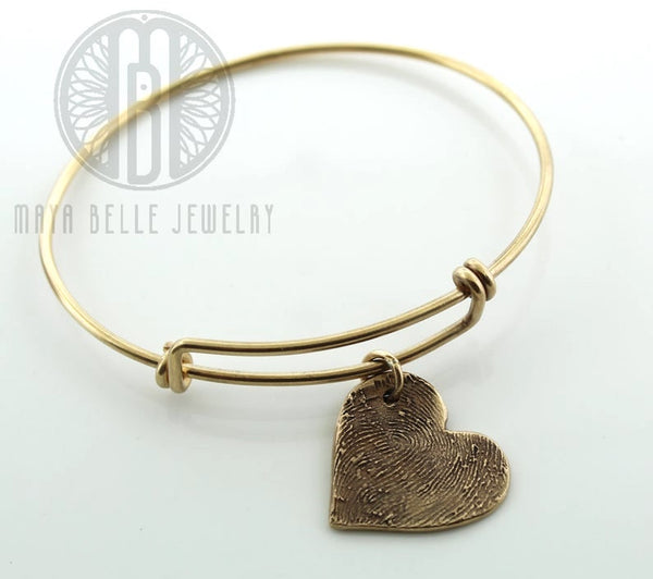 Actual Fingerprint bangle bracelet - Maya Belle Jewelry