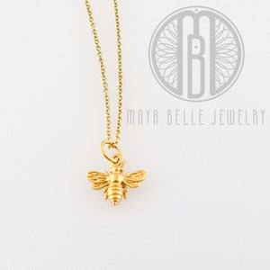 24k gold Gold Honey Bee necklace - Maya Belle Jewelry