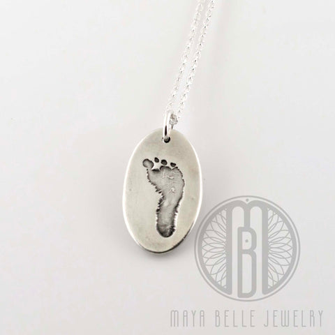 Baby's footprint necklace keepsake - Maya Belle Jewelry