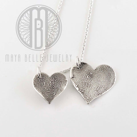 Classic Fingerprint necklace in puffy heart shape - Maya Belle Jewelry