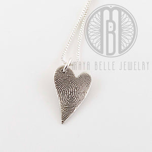 Classic Fingerprint necklace in long heart shape - Maya Belle Jewelry
