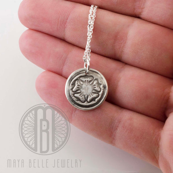 Rustic Luther Rose Necklace in silver or bronze - Maya Belle Jewelry