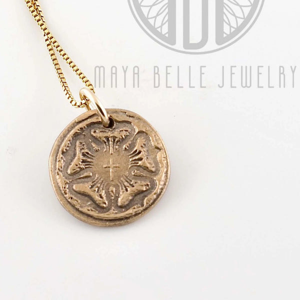 Rustic Luther Rose Necklace bronze and gold - Maya Belle Jewelry