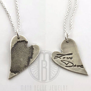 Large Fingerprint Necklace with Handwriting on the back with Choice of Silver or Bronze and Shape - Maya Belle Jewelry