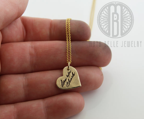 Small fingerprint in bronze and gold with or without custom handwriting - Maya Belle Jewelry