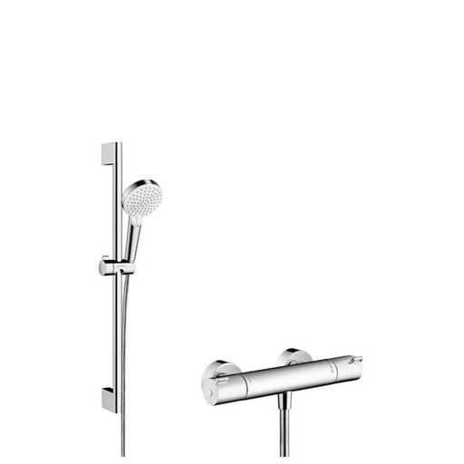 Hansgrohe Crometta Vario Ecostat Thermostatic Mixer and Shower Rail 65cm - Unbeatable Bathrooms