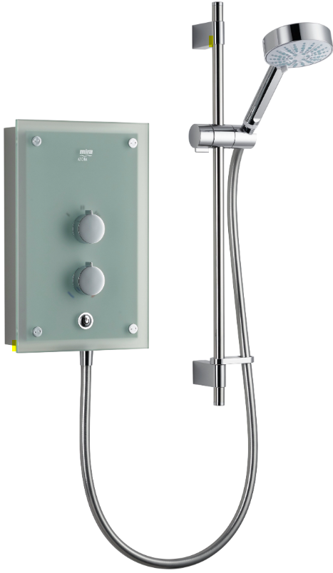 Mira Azora Frosted Glass Electric Shower + Rail, 9.8 kW - Unbeatable Bathrooms