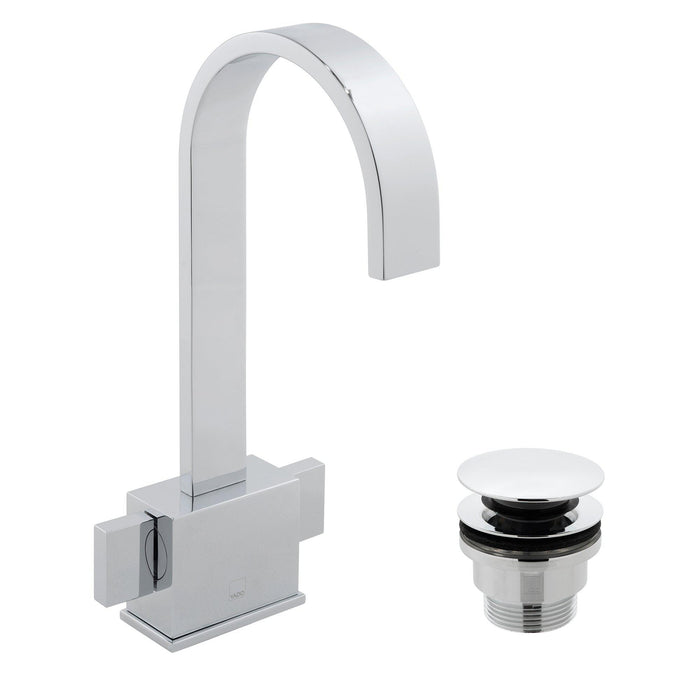 Geo Mono Basin Mixer Smooth Bodied Deck Mounted With Clic-clac Waste - Unbeatable Bathrooms