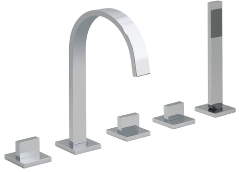 Geo 5 Hole Bath Shower Mixer Deck Mounted - Unbeatable Bathrooms