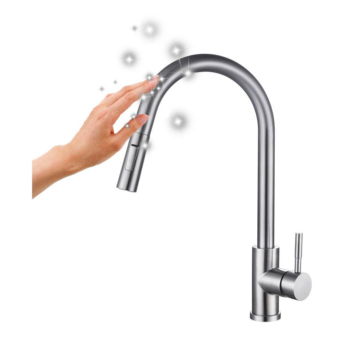 Rak Prague One Touch Pull Out Kitchen Sink Mixer - Unbeatable Bathrooms