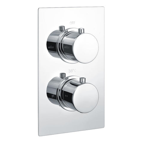 Rak Round Dual Outlet, 2 Handle Thermostatic Concealed Shower Valve - Unbeatable Bathrooms