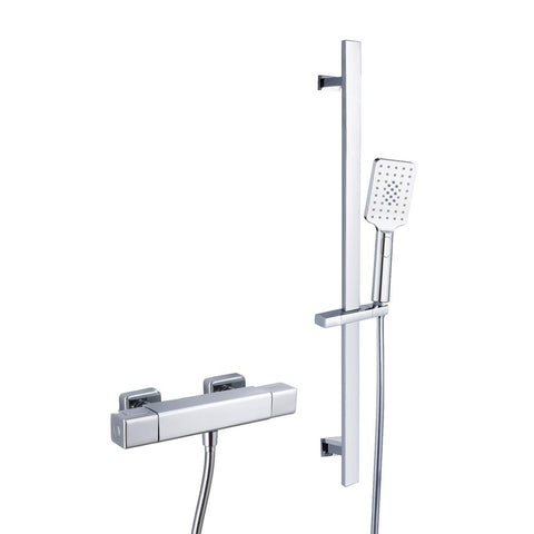 Rak Cool Touch Square Exposed Thermostatic Shower Valve with Slide Rail Kit (WRAS) - Unbeatable Bathrooms