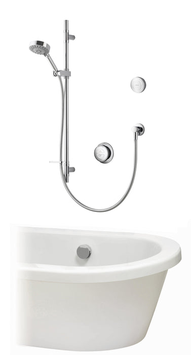 Rise Smart Concealed Shower with Slide Rail Kit, diverter, bath overflow and remote control - Unbeatable Bathrooms