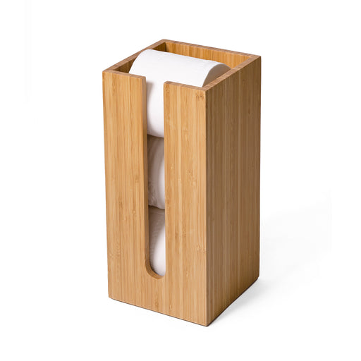 Bamboo Toilet Roll Holder Box Arena - Unbeatable Bathrooms