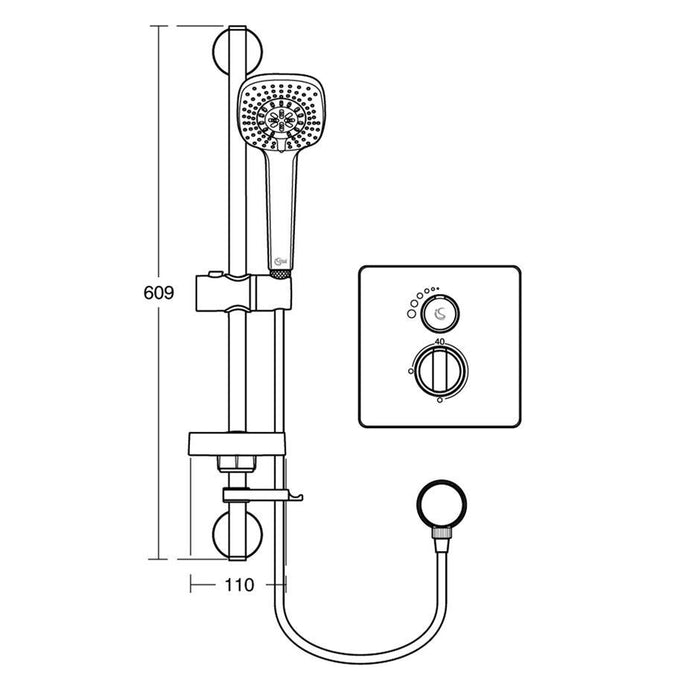 Ideal Standard Concept Easybox Slim built-in thermostatic shower pack with faceplate and Idealrain M3 kit. Consists of brass mixer, plastic installation box, mounting bracket, faceplate and handles. - Unbeatable Bathrooms