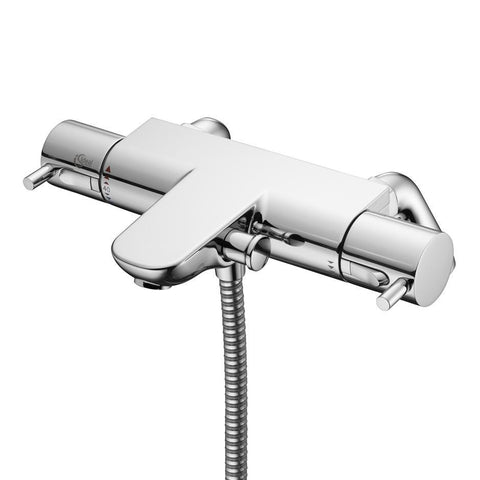 Ideal Standard Alto Ecotherm bath shower mixer with metal pin handles & rim mounting legs - Unbeatable Bathrooms