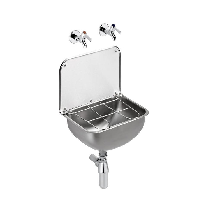 Armitage Shanks Angus Sink, 44cm X 31cm With 28cm High Back, 1-1/2inch Integral Strainer Waste and Stainless Steel Bucket Grating - Unbeatable Bathrooms