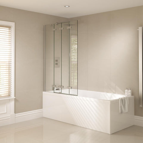 April Prestige Frameless 4 Fold Bath screen - Unbeatable Bathrooms