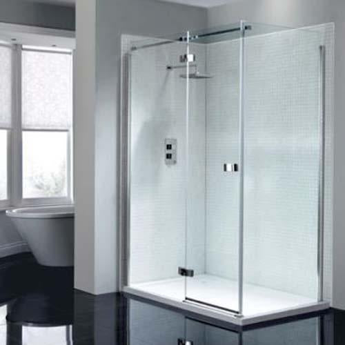 April Prestige Frameless Shower Enclosure with Hinge Door and Side Panel - Unbeatable Bathrooms