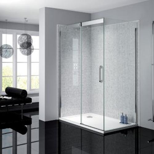 April Prestige Frameless Shower Enclosure with Sliding Door and Side Panel - Unbeatable Bathrooms