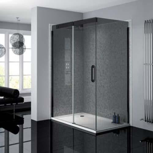 April Prestige Frameless Shower Enclosure with Smoked Glass Sliding Door and Side Panel - Unbeatable Bathrooms