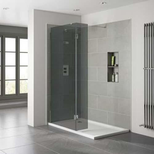 April Prestige Frameless Shower Enclosure with 10mm Smoked Glass Wetroom - Unbeatable Bathrooms