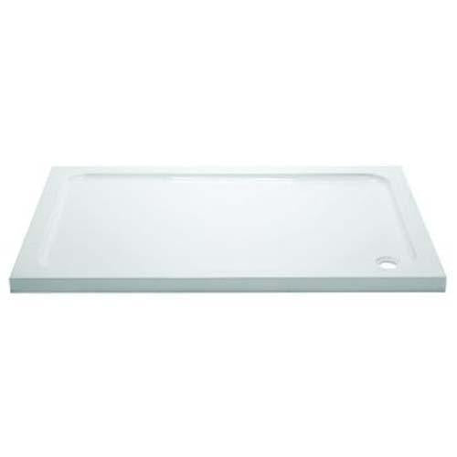April Rectangular White Stone Tray with 90mm Waste - Unbeatable Bathrooms