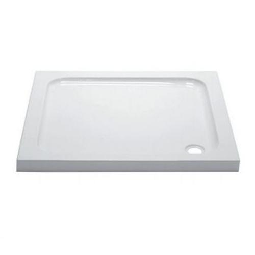 April Square White Stone Tray with 90mm Waste - Unbeatable Bathrooms