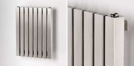 Aeon Kare Wall Mounted Stainless Steel Horizontal Designer Radiator Brushed 600mm high x 590mm wide - Unbeatable Bathrooms