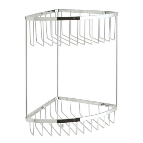 Vado Large Double Wall Mounted Triangular Corner Basket with Integral Hook - Unbeatable Bathrooms