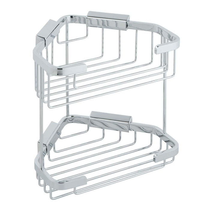 Vado Large Double Wall Mounted Triangular Corner Basket - Unbeatable Bathrooms