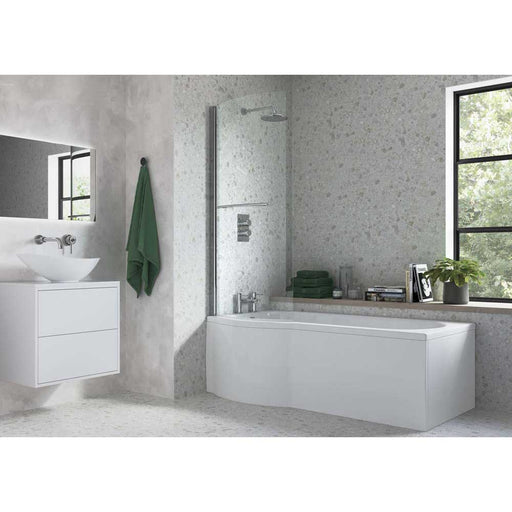 Bathrooms To Love Slim Fit P Shape Shower 0TH Bath 1700mm Supercast - Unbeatable Bathrooms