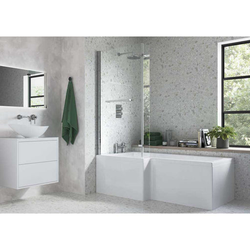 Bathrooms To Love Solarana L Shape Shower 0TH Bath 1700mm Supercast - Unbeatable Bathrooms