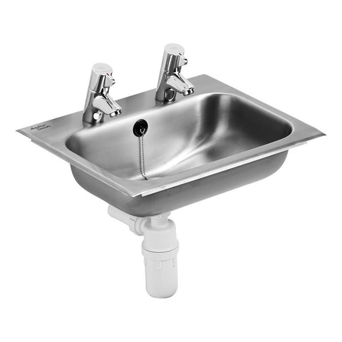 Armitage Shanks Berwick 2 Stainless Steel Self Rimming Countertop Bowl, 1-1/4inch Combined Chainwaste and Plug Overflow, with Fixing Kit - Unbeatable Bathrooms
